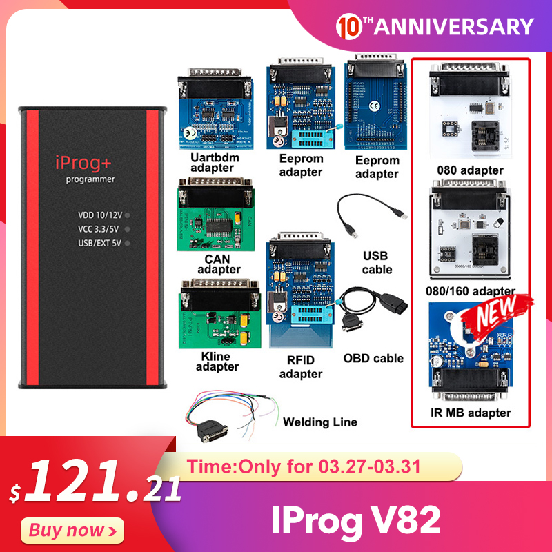 Iprog+ Iprog Pro V82 Key Programmer Support IMMO Mileage Correction Airbag Reset Till Year 2019 Replace Carprog/Full/Digiprog