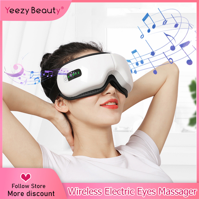 Eye Massager Electric Air Pressure Eyes Massager Instrument Music Wireless Vibration Magnetic Heating Therapy Massage Eye Care