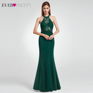 Image 5 - Elegant Dark Green Evening Dresses Long Ever Pretty A Line V Neck Sleevelss Lace Appliques Evening Gowns Abiye Gece Elbisesi