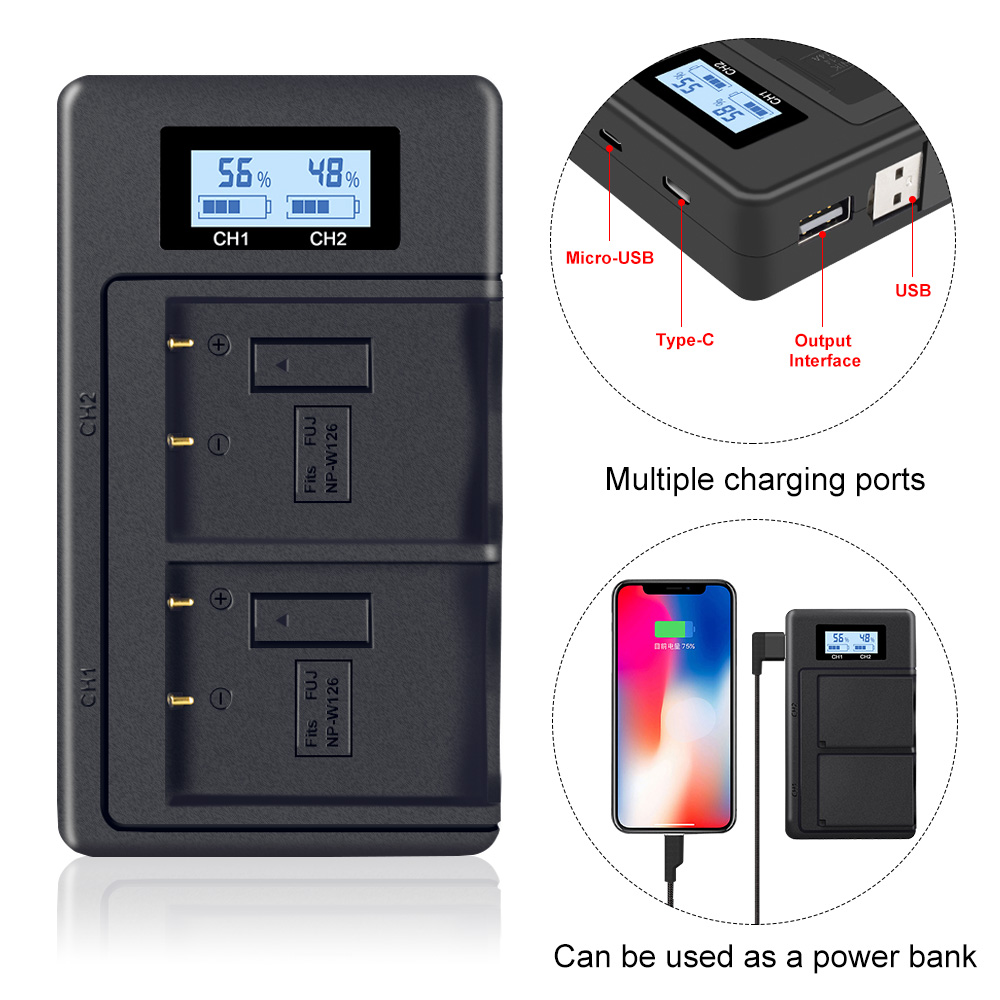 Usb-Charger Battery W126 Fujifil X-T3 for NP W126/Battery/X-t3/.. LCD