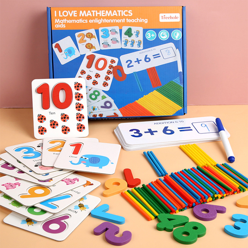 Kids Math Toys Wood Arithmetic Toy Digital Pairing Cards With Counting Sticks Kindergarten Preschool Toys For Children Girls Boy