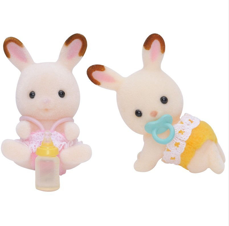 Sylvanian Families Toy Sylvanian Families Chocolate Rabbit Twins GIRL'S Play House Doll 5080