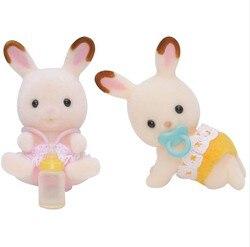 Sylvanian famílias brinquedo sylvanian famílias chocolate coelho gêmeos meninas jogar casa boneca 5080