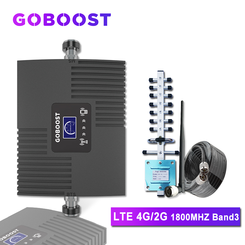 GOBOOST 4G Cellular Amplifier 4G LTE Cellular Signal Booster DCS 1800mhz Repeater 4G Mobile Phone Signal Amplifier 4G Antenna