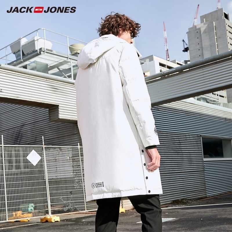 Jackjones inverno com capuz gola estilo longo para baixo jaqueta de pato branco para baixo casaco parka 219312512