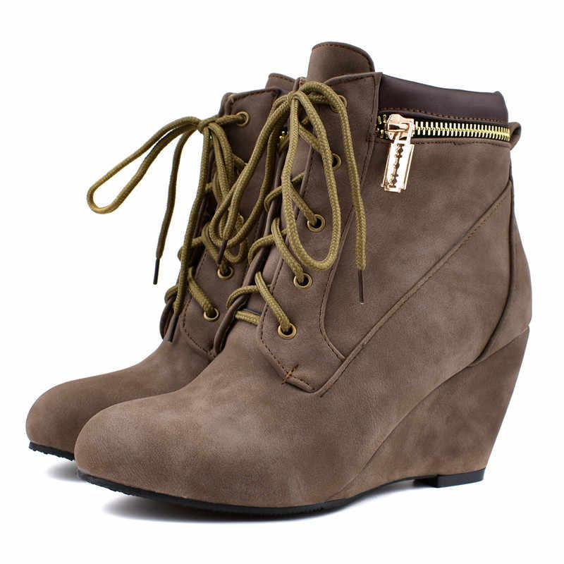 ASUMER artı boyutu 34-48 moda sonbahar kış çizmeler sivri burun ayak bileği bağcığı botları yüksek topuklu takozlar ayakkabı kadın botları 2020 yeni