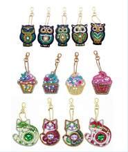 5 pçs diy broca cheia especial pintura diamante chaveiro dos desenhos animados coruja chaveiros jóias chaveiro presentes ysk018