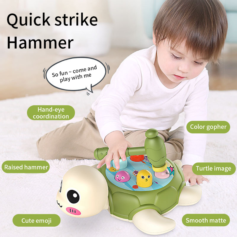Funny Turtle Playing Hamster Toy with Hammer Knocking Toy for Kids Hammer Knock Interactive Early Learning Educational Toy