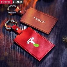 Кожанный чехол для Tesla модель 3 ключ чехол Model3 ключа автомобиля держатель для карт Защитная крышка модель три держатель для карт ключ детска...