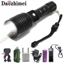 1000 lümen kırmızı/yeşil ışık el feneri IR çok fonksiyonlu led lazer el feneri XM-L T6 odaklama yakınlaştırma taktik avcılık flaş işığı
