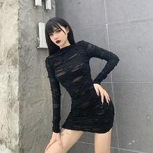 Helisopus/Новинка; Готическое Черное мини платье; Уличная одежда