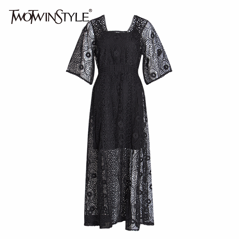 TWOTWINSTYLE Summer Hollow Out Women Dress Square Collar Half Sleeve High Waist Perspective Maxi Dresses Female Fashion 2002