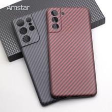 Amstar real caso de fibra de carbono capa dura para samsung s21 ultra/s21 plus/s21 anti-queda ultra-fino caso de telefone de fibra de carbono