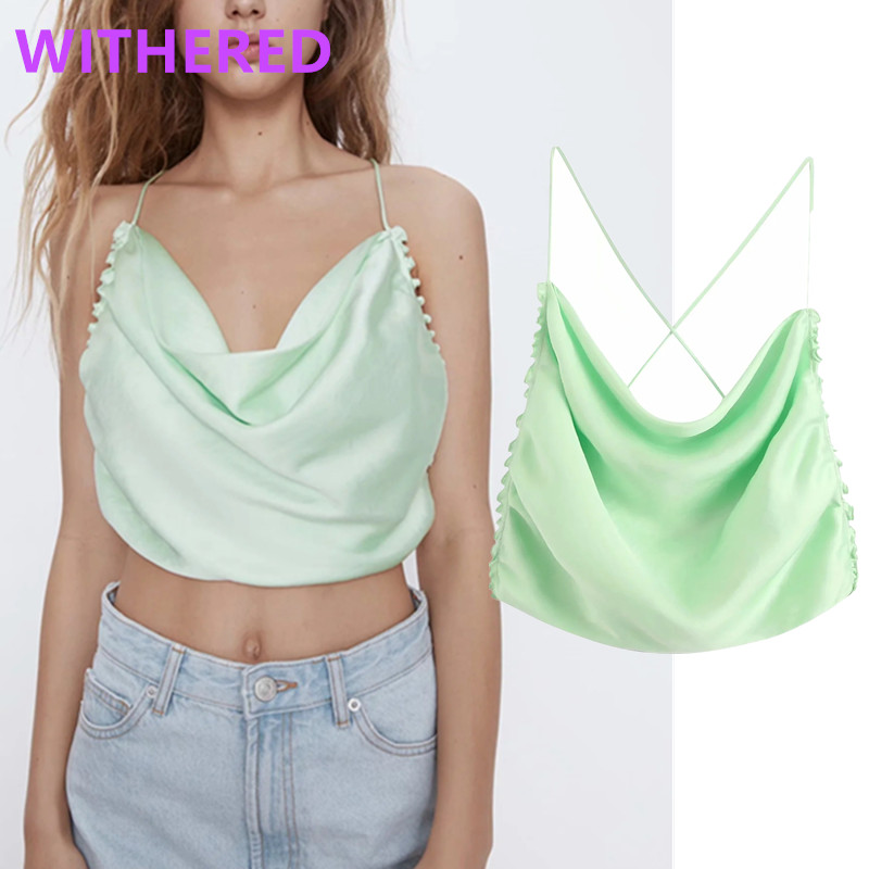Withered England High Street Sexy Short Spaghetti Satin Summer Blouse Women Blusas Mujer De Moda 2020 Camisole Shirt Womens Tops