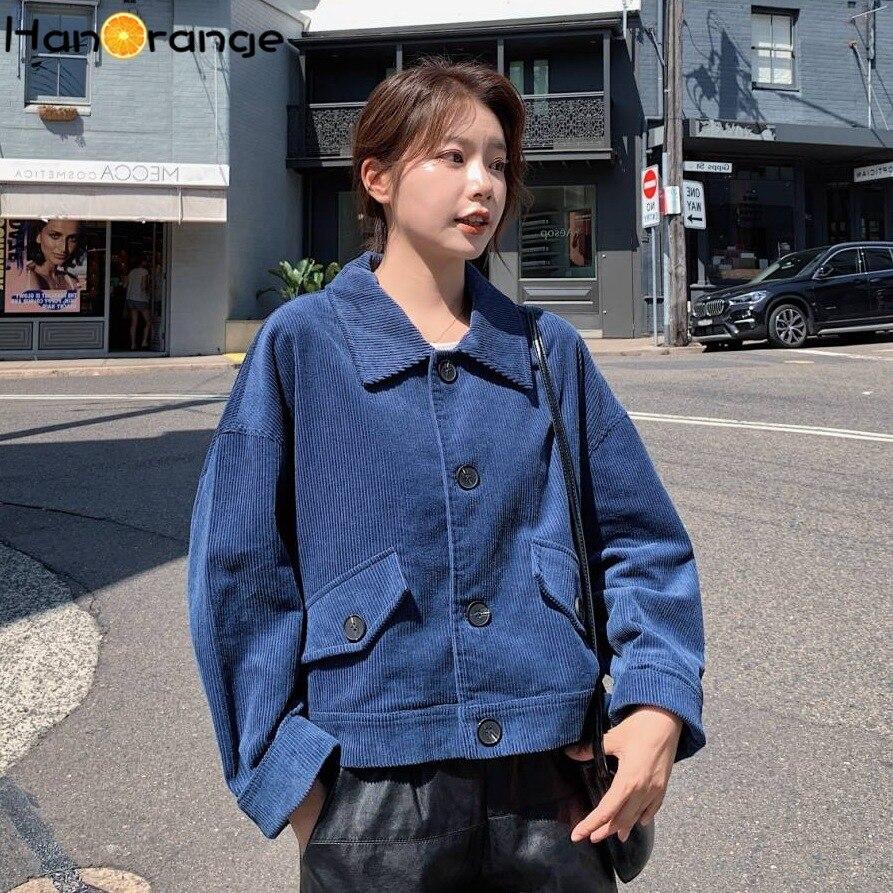 Chic Temperament OL Corduroy Blue Handsome Loose Lapel Single Breasted Blazer Jacket Short Coat Female