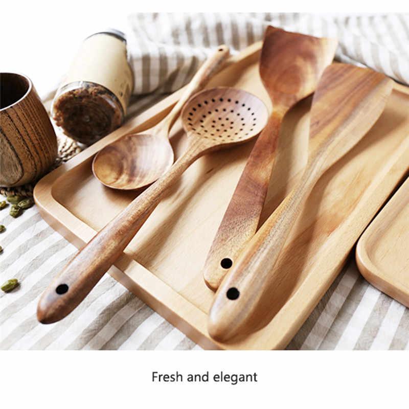 Thaïlande teck bois naturel vaisselle cuillère louche Turner longue passoire à riz soupe écumeur cuillères de cuisson Scoop cuisine ensemble d'outils