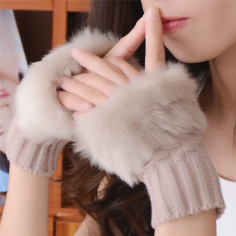 Winter Warm Woolen Fur Gloves Women Stretchy Wrist Fingerless Adult Fashion Solid Mittens Glove Gants Femme