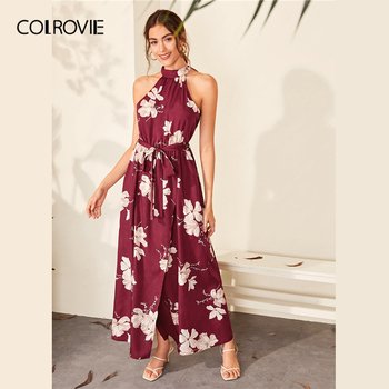 COLROVIE Burgundy Floral Print Wrap Hem Belted Halter Dress Women High Waist Maxi Dress 2020 Spring Summer A Line Boho Dresses 2