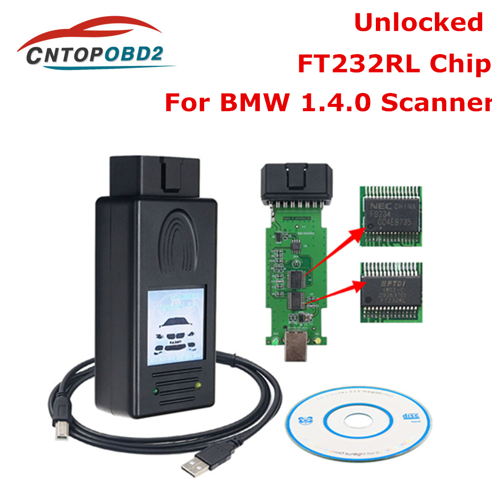 Latest For BMW Scanner 1.4.0 Unlock Version FTDI Chip OBD Code Reader Multi-Function Diagnostic Cable OBD2 Diagnostic Tool