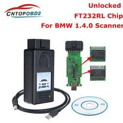 Najnowszy do skanera BMW 1.4.0 odblokuj wersję układ ftdi czytnik kodów OBD wielofunkcyjny kabel diagnostyczny narzędzie diagnostyczne OBD2