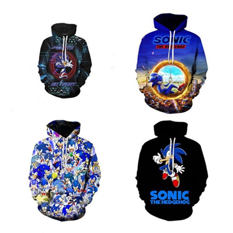 Game Sonic Print Casual Sweatshirt Pullover Hoodie Boys Girls Cosplay Sweater