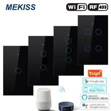 Умный сенсорный выключатель MEKISS US, выключатель для подключения к сети Wi Fi, с управлением через приложение, 1 gang2gang3gang4gang, переключатель 110 В, 220 В переменного тока