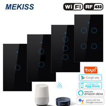 Wifi Smart touch switch Light switch network connection tuya App RF wireless remote Alexa Google Control AC110V 220V interrupter cheap MEAKISS CN(Origin) ROHS interruptor Wifi Tuya Smart switch touch alexa voice light switch Plastic Switches M-US-WIFI-RF-1234
