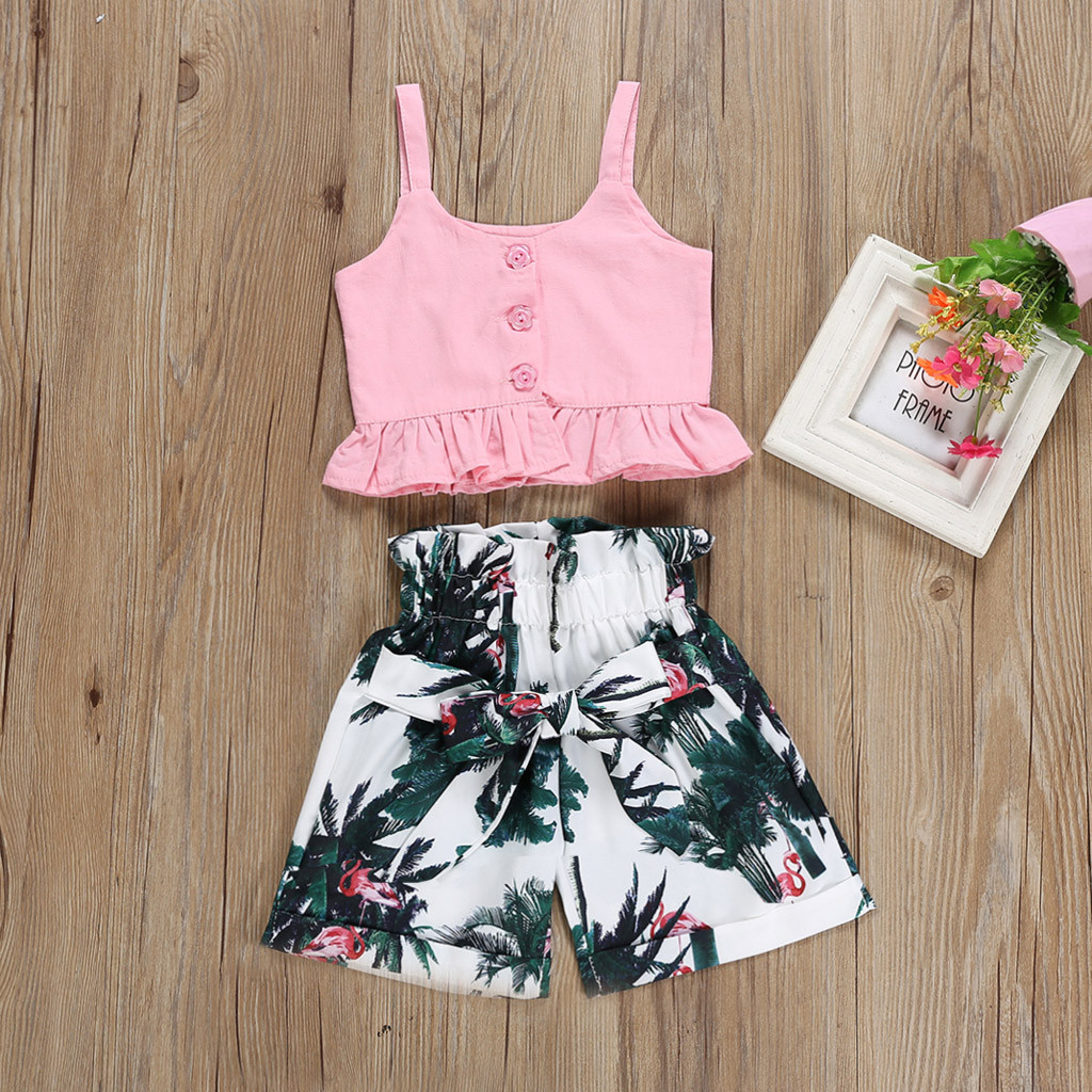 Toddler Baby Girl Child Clothes T shirt Tops Casual Floral Shorts Pants Suit