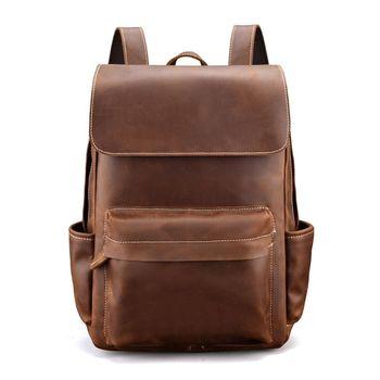 Vintage Men Large Capacity Leather Backpack Travel Rucksack Teenager Student Bookbag Laptop Daypack