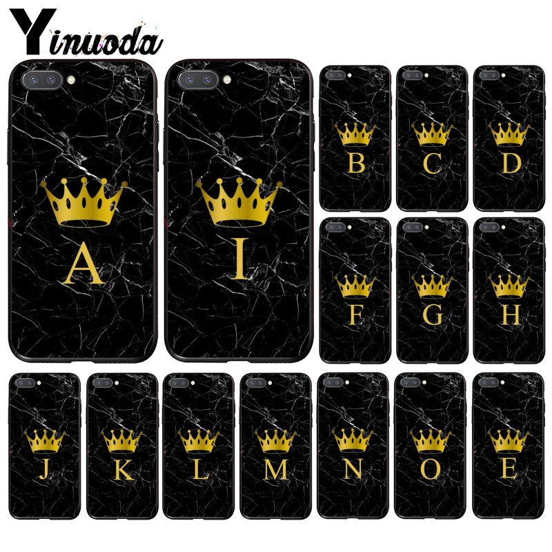 Yinuoda Custom Name Letter Monogram Black Marble Gold Crown Phone Case For Huawei Honor 8A 8X 9 10 20 Lite 7A 5A 7C 10i 20i