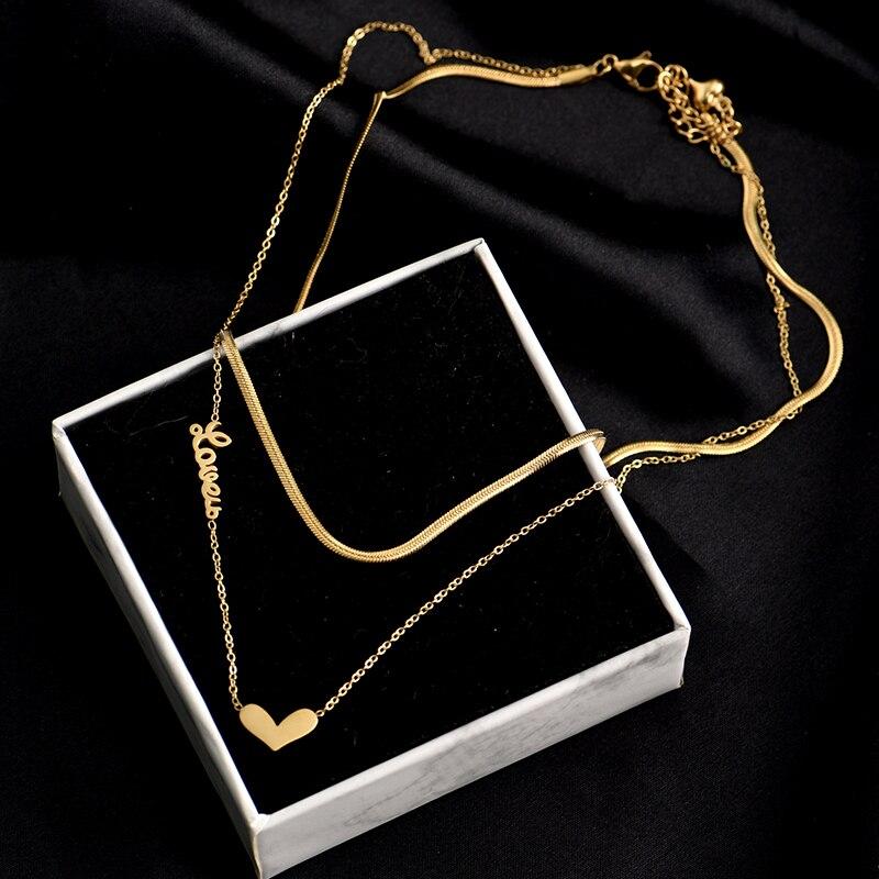 Титановая сталь, модная новинка, ювелирное изделие, 2 слоя в форме сердца для женщин Girlslove колье в виде змеи ожерелье ювелирные изделия аксес...