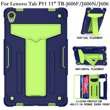Shockproof Stand Fundas Tablet Cover for Lenovo TabP11 Tab P11 P 11 TB J606N J606F J606 606F Case Coque PC Silicon Shell Housing
