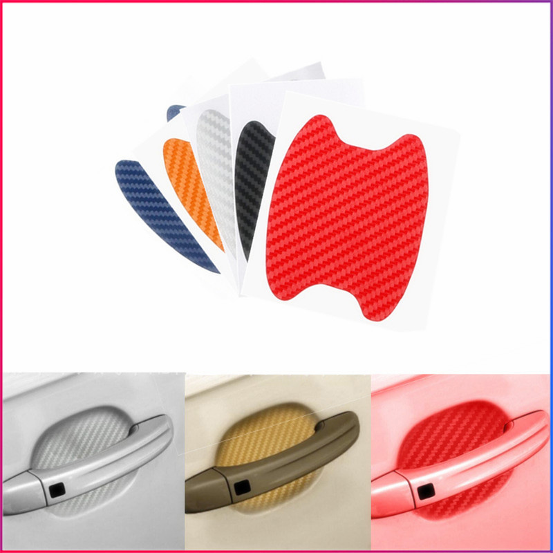 4PC Universal Carbon Fiber Auto Car Door Handle Stickers Car Handle Protection Car Handle Anti Scratch Stickers Car Styling