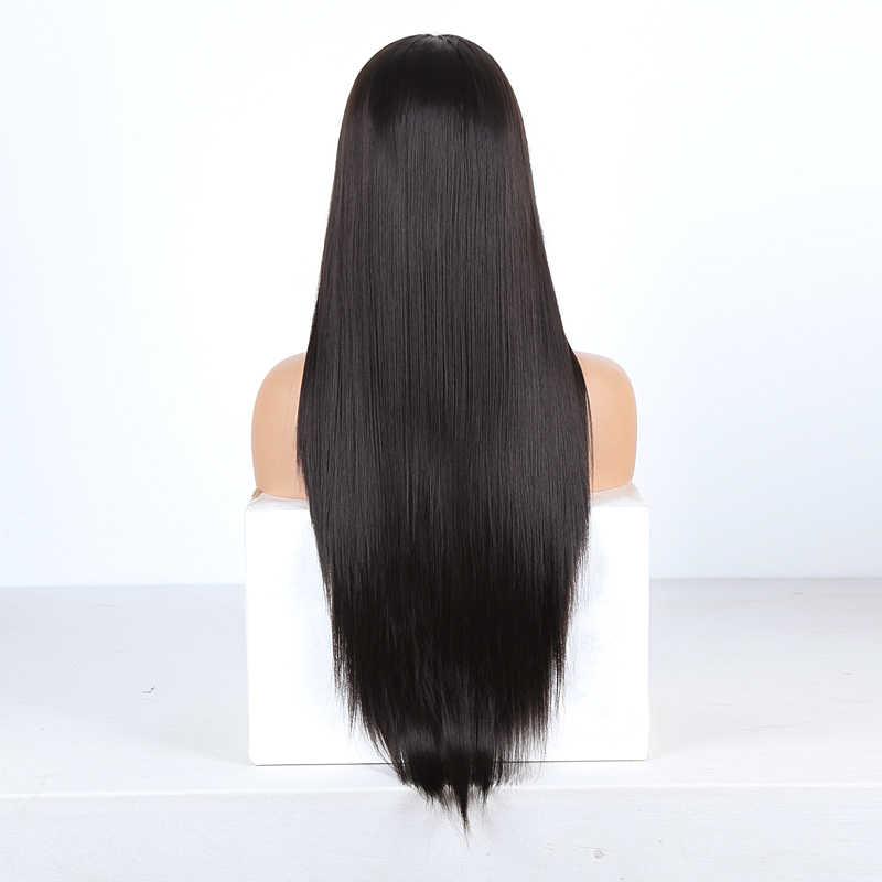 Rongduoyi longo peruca dianteira do laço sintético parte do meio perucas de renda reta para mulher marrom escuro resistente ao calor peruca cosplay cabelo