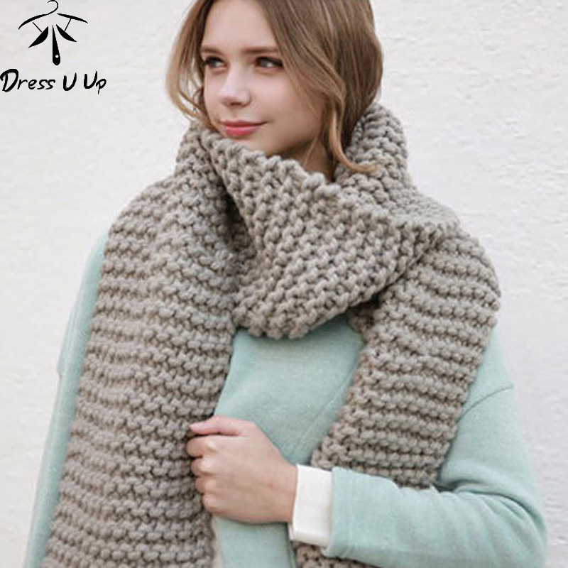 DRESSUUP 2019 New Solid Color Thick Wool Scarf Female Autumn And Winter Thick Knit Scarf Men And Women Handmade