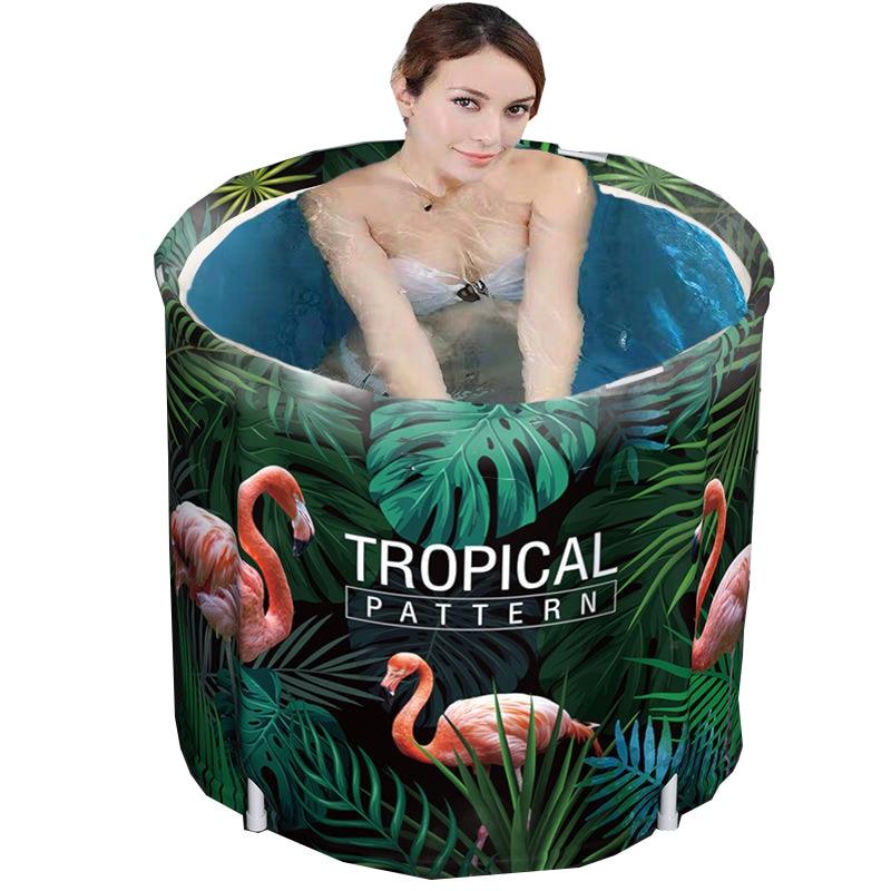 Bathtub Folding Adult Baby Child Portable Non Inflatable Bath Tub Comfortable Household Tub Shower Tray Tropical Jungle Flamingo