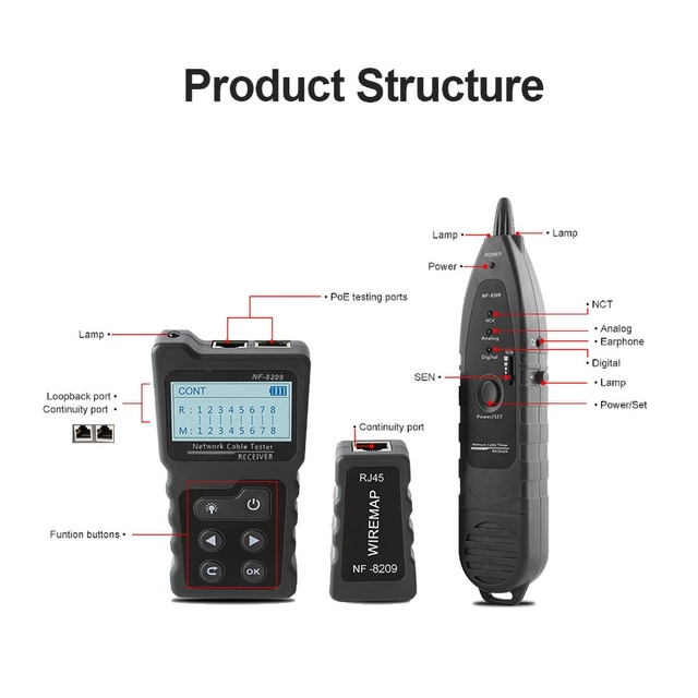 NF-8209 LCD Display Measure Length Lan Cable POE Wire Checker Cat5 Cat6 Lan Test Network Tool Scan Cable Wiremap Tester 5
