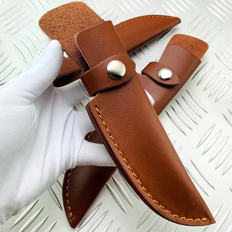 """Nuevo Cinturón De Cuero Recto Vaina Para 7/"""" Fijo Cuchillo Con Funda cuchillos de vaina Negro"""