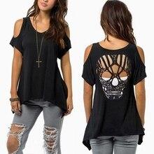 T-Shirt Short-Sleeve Skull Cold-Shoulder Women Backless Casual Cut Hollow 4XL/5XL