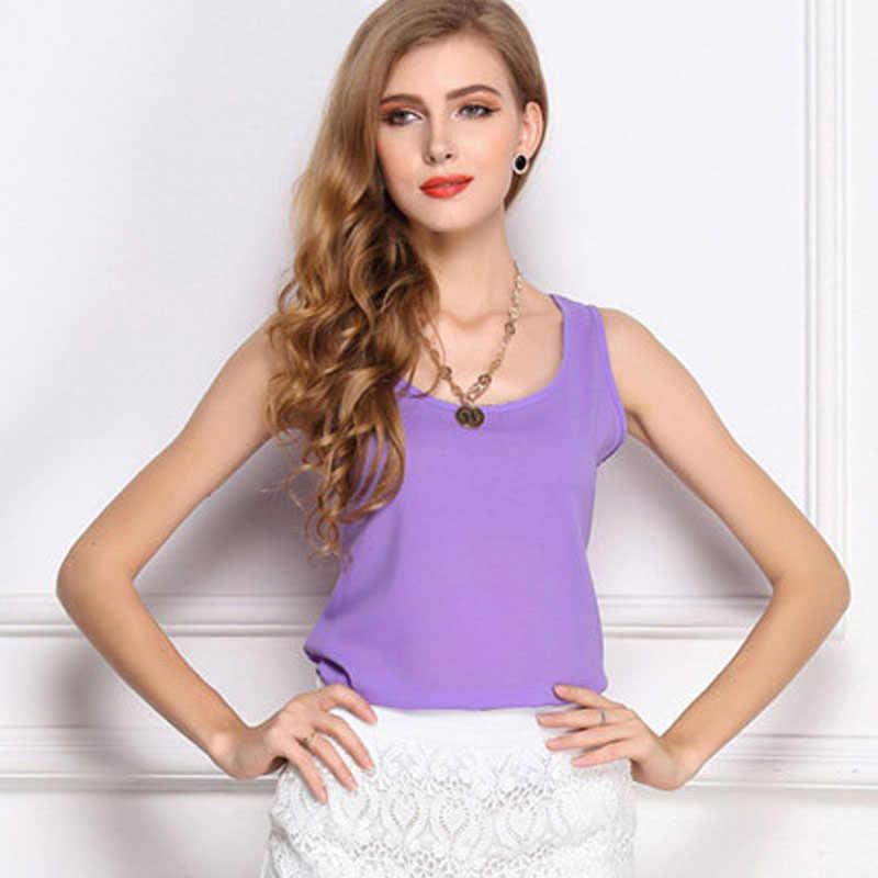 ใหม่Casualแฟชั่นฤดูร้อนเสื้อกั๊กเสื้อกั๊กเสื้อชีฟองสตรีCasual Cotton O-Neckแฟชั่นแขนกุด
