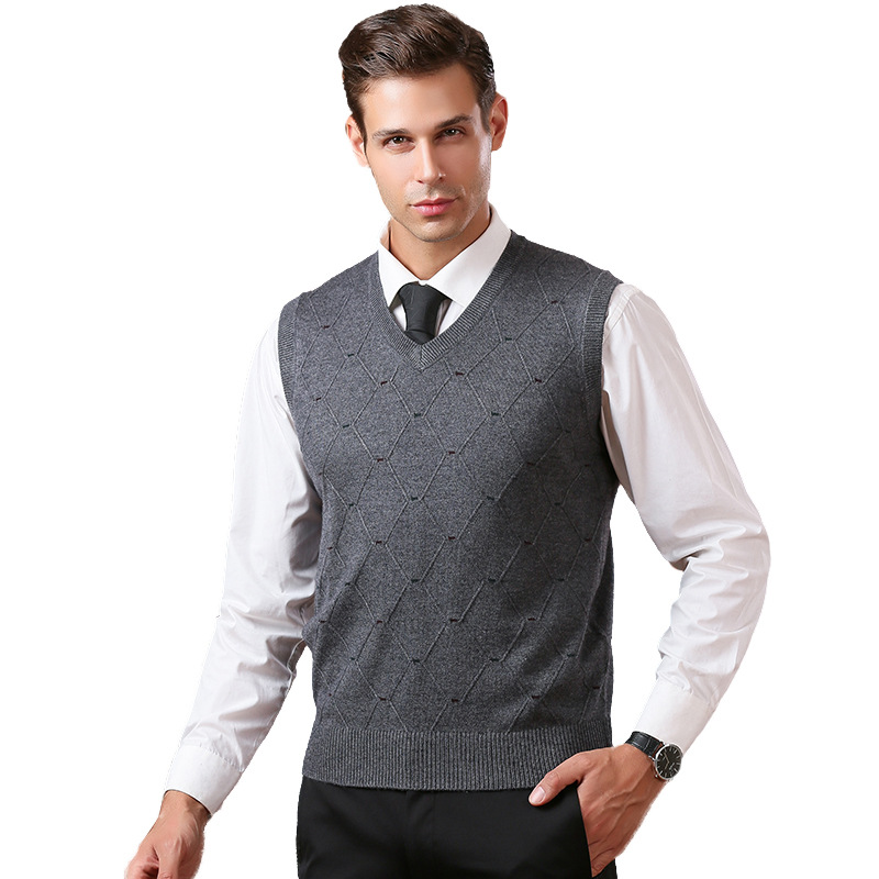 2019 Autumn And Winter Slim Knitted Pullovers Men V-Neck Sleeveless Formal Business Pull Homme Casual Solid Sweaters Vest
