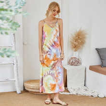 New Tie-dyed Dress Elegant A Line V Neck Spaghetti Stap Print Maxi Dress Summer 2020 Casual Cotton Dresses Jurkjes Zomer Vestido elegant v neck sleeveless leaf print a line women s maxi dress