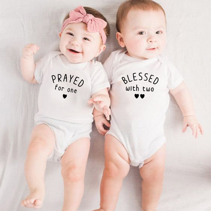 1 Pc Planned For One And Blessed With Two Baby Summer Short Sleeves Playsuit Twins Baby Coverall Toddler Onesie Cute Wear