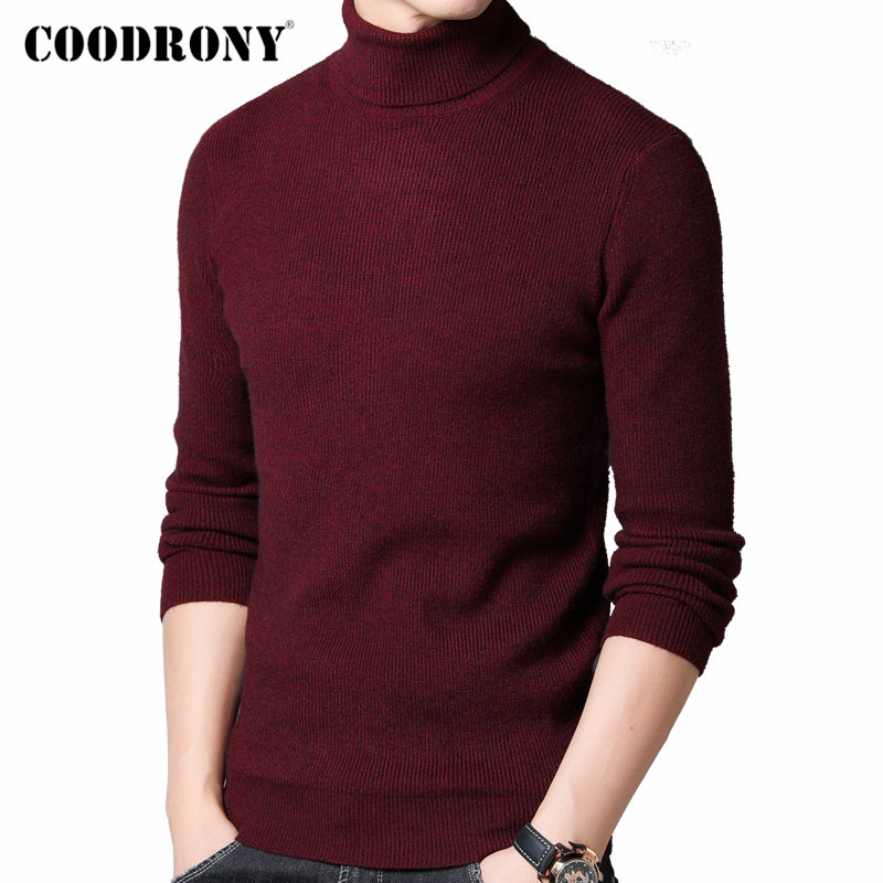 COODRONY Sweater Men Streetwear Fashion Knitwear Cashmere Turtleneck Pull Homme Autumn Winter Thick Warm Wool Pullover Men 91099