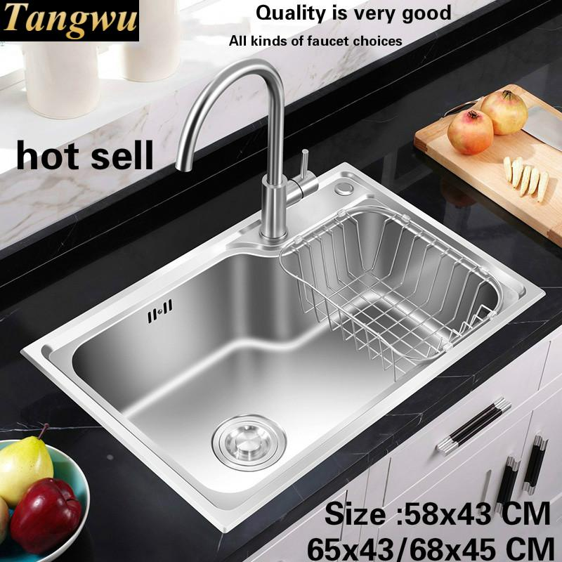 Free Shipping Hot Sell Standard Kitchen Single Trough Sink Food Grade 304 Stainless Steel Wash The Dishes 58x43/65x43/68x45 CM
