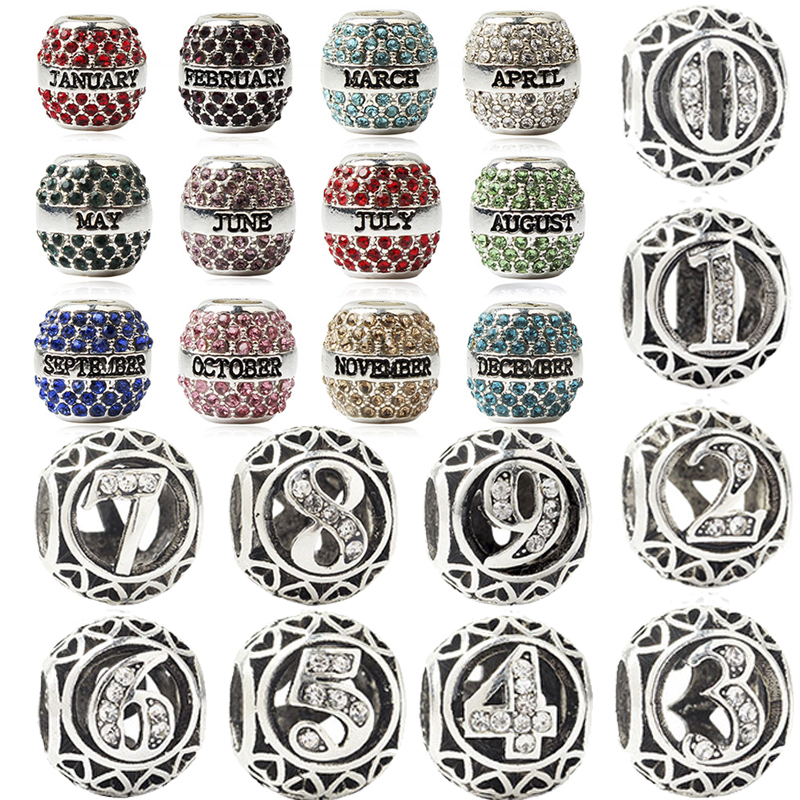Birthday Gift 12 months & number 0 to 9 charms fit original pandora bracelet diy bead jewelry necklace & bangle for friend women