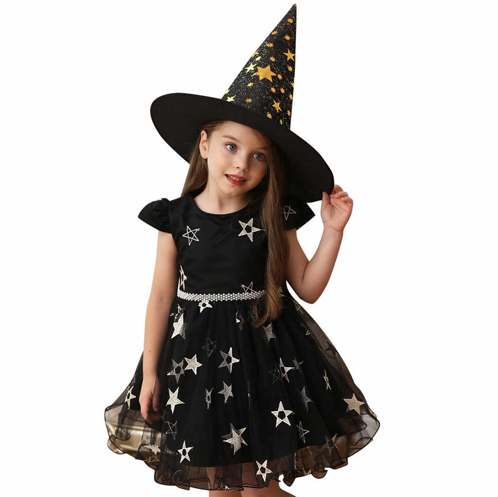 Girls Dress 2019 Vestidos Halloween Costume Star Performance Hat Kid Dresses Princess For Party Night Little Baby Clothes 19aug