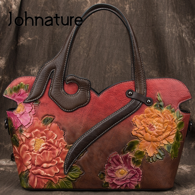 Johnature Handmade Embossing Retro Luxury Handbags Women Bags Designer 2020 New Genuine Leather Shoulder & Crossbody Bags