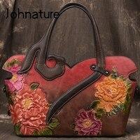 Johnature Handmade Embossing Retro Luxury Handbags Women Bags Designer 2019 New Genuine Leather Shoulder & Crossbody Bags