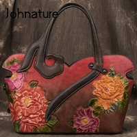 Johnature Handmade Embossing Retro Luxury Handbags Women Bags Designer 2020 New Genuine Leather Shoulder & Crossbody Bags